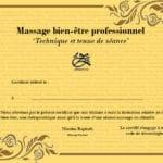 Diplôme de massage bien-être et certificats