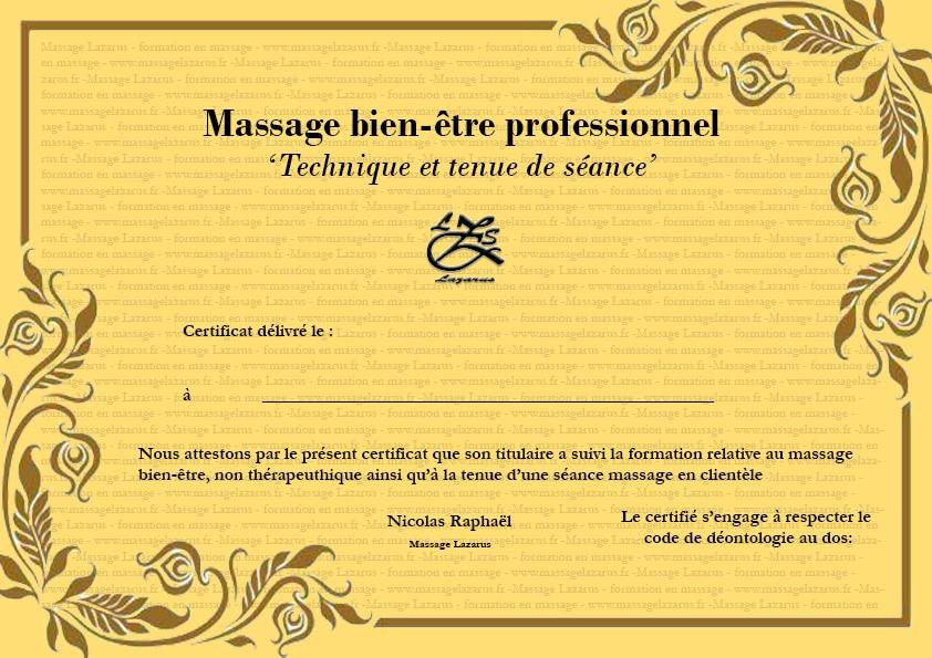 Diplome massage bien etre