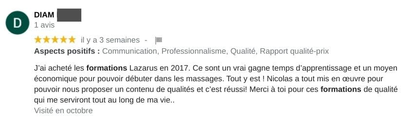 Avis formation de massage lazarus